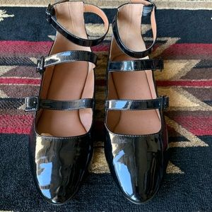 Urban Outfitters Patent Leather Three Strap Flats